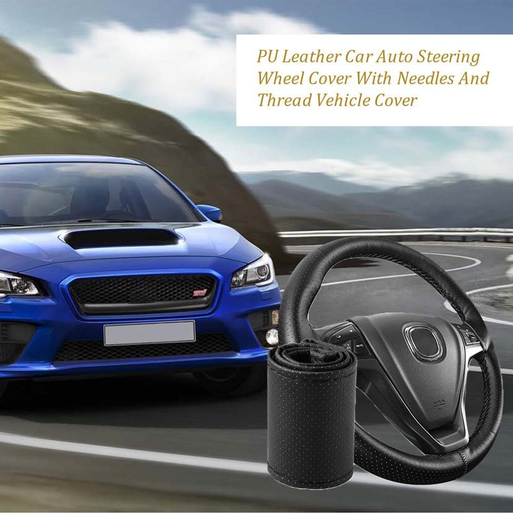 Auto Stuurwiel Braid Cover Zachte Textuur Auto Covers Met Naalden En Discussie Kunstleer Auto Styling Covers