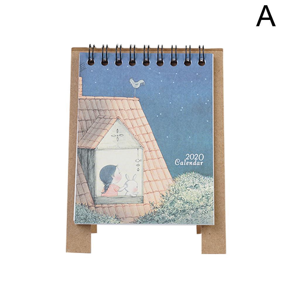 2020 New Year Kawaii Cartoon Table Calendar Mini Table Calendar Organizer Desk Calendar Book Agenda 2020 Planner I0T8