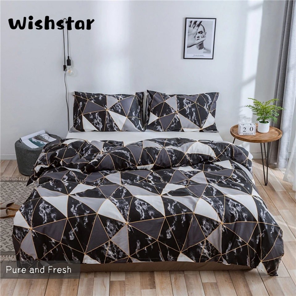 Wishstar Nordic Geometric Marble Cotton Bedding Set Tile Duvet Cover Set With 2 Pillowcase Black Bed Linen Simple Warm Bedding