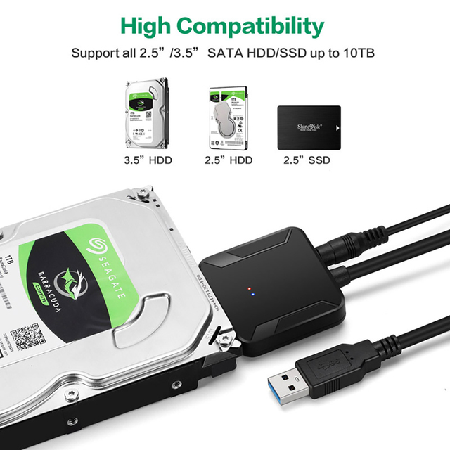 Amane USB 3.0 To Sata Adapter Converter Cable USB3.0 Hard Drive Converter Cable For Samsung Seagate WD 2.5 3.5 HDD SSD Adapter 4