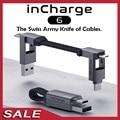 InCharge 6/6 Max 6-в-1 алюминиевый usb-кабель для зарядки USB-C Type-C/Micro USB Магнитный брелок для iPhone смартфона, кабель для передачи данных
