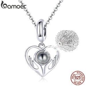 Bamoer 100 język kocham cię serce wisiorek urok na bransoletkę lub naszyjnik 925 srebro biżuteria prezenty dla dziewczyny SCC1307