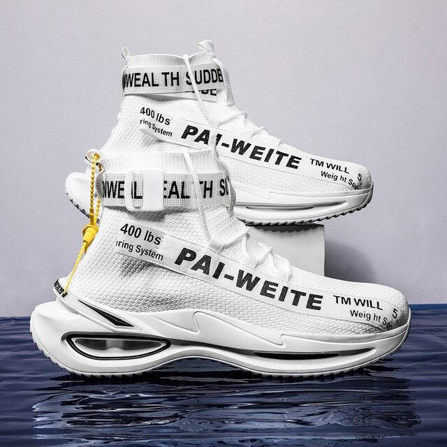 Zapatillas de deporte de suela gruesa para hombre, zapatos de suela gruesa con suela de aire para caminar, con tejido de mosca, para exteriores 6
