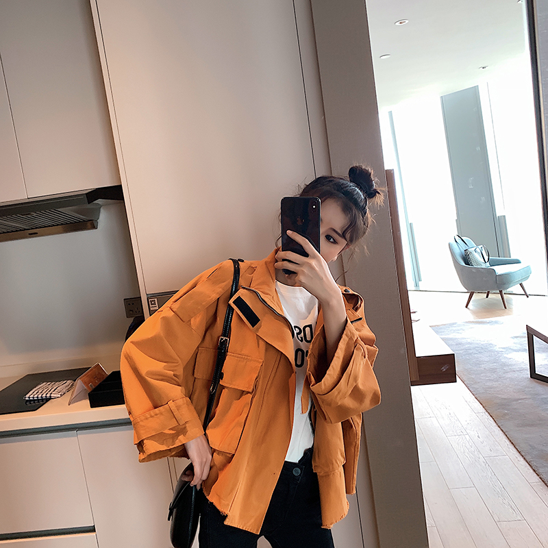 Women's Early Autumn Dress In 2019 New Korean Version Of Bf Loose Fashion Jacket Short Tooling Windbreaker Small Coat Trend
