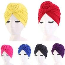 Panie Turban bonnet jednolity kolor top bawełniany węzeł wewnętrzny hidżab czapki afryki twist headwrap głowa kobiety okłady indie kapelusz Hijabs Cap