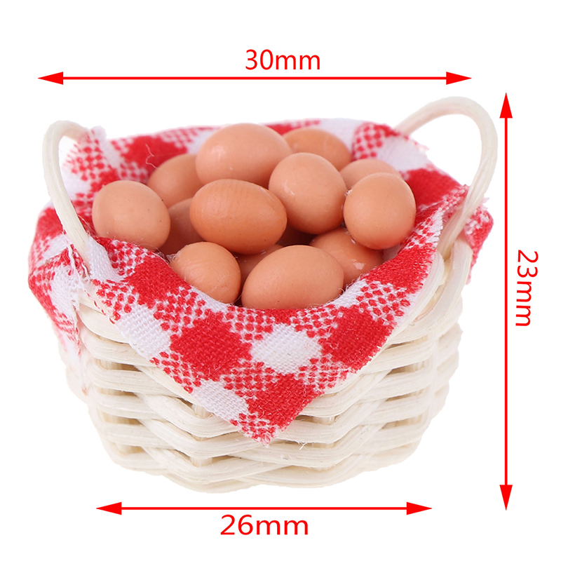 1:12 Miniature Eggs With Bamboo Basket Dollhouse Accessories For Kitchen Farm Baby Kids DIY Toys