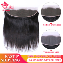 クイーン髪製品ブラジルバージンストレート 13 × 4 透明レースフロント閉鎖 100% 人毛ミディアムブラウンスイスのレース
