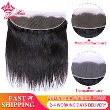 퀸 헤어 제품 브라질 버진 스트레이트 13x4 투명 레이스 정면 폐쇄 100% 인간의 머리카락 중간 갈색 스위스 레이스