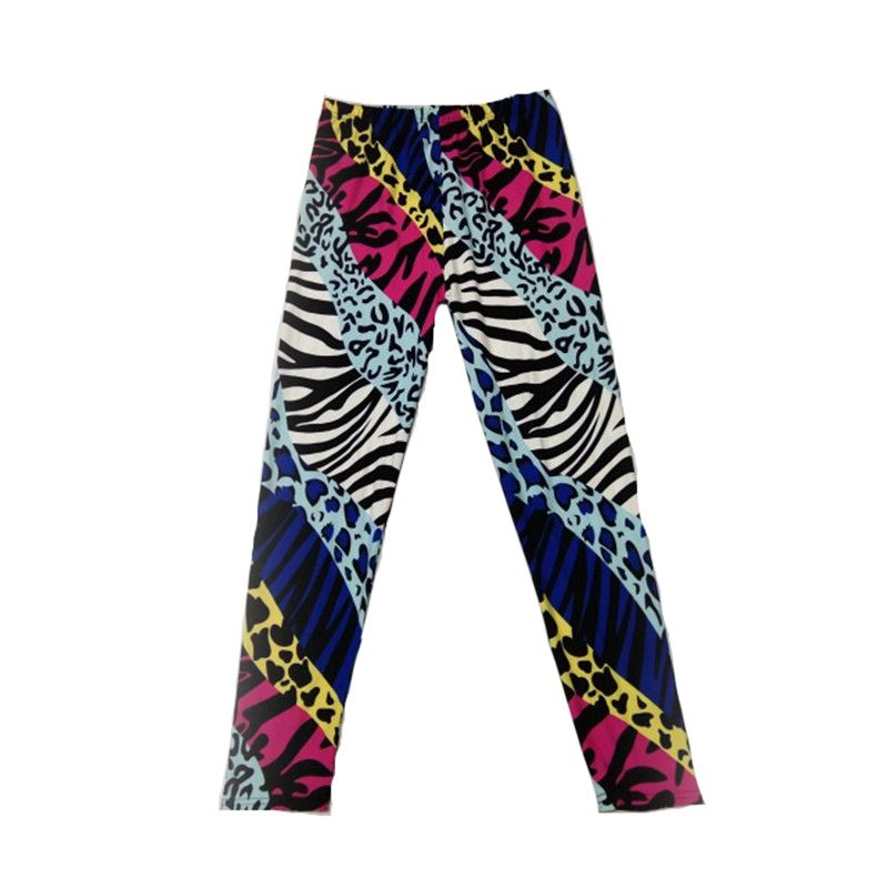 Wholesale 2019 Popular Color Neon Leopard Print Leggings Female Stretch Milk Silk Pants Neon Zebra Leopard Leggings New