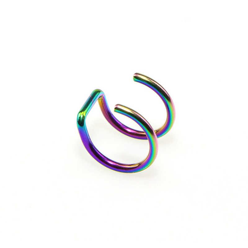 1PCS Fake Piercing Body Jewelry Clip On Earrings Stainless Steel Ear Cuff Non Piercing Clip on Cartilage Earrings for Men Women