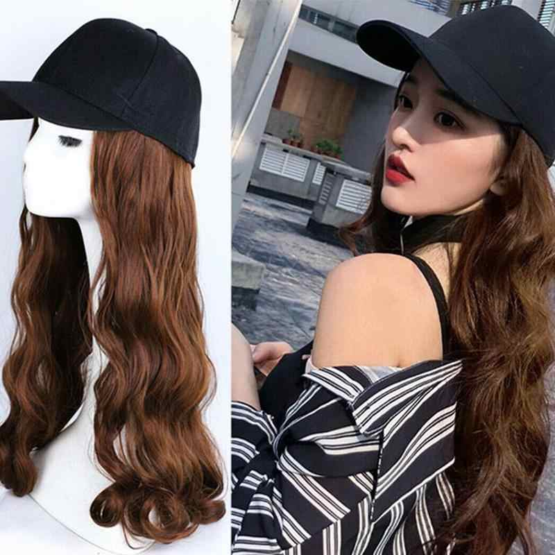 4 Colors Adjustable Women Hats Wavy Hair Extensions With Black Cap Wig All-in-one Female Baseball Cap