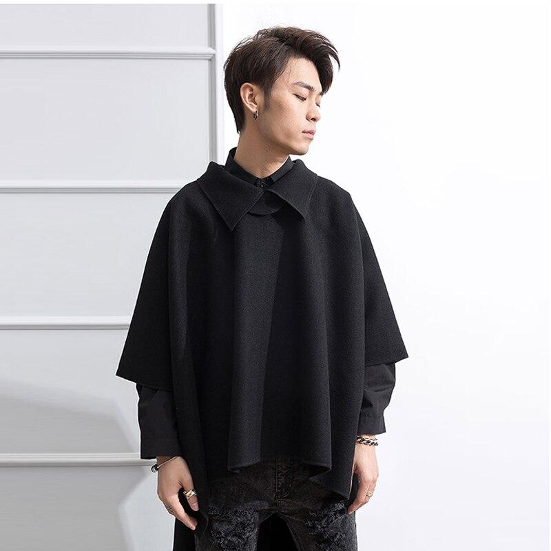 Front short back long turtleneck extra long turtleneck turtleneck men's wool coat cloak fashion loose thin cape