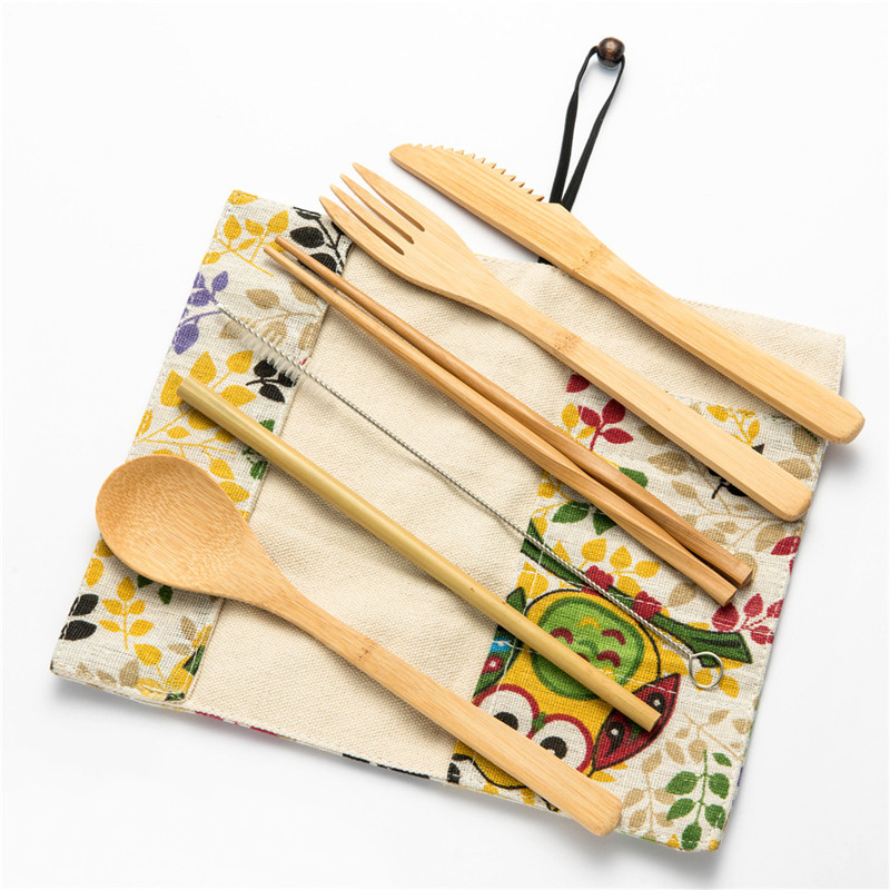 7/8/10pcs Bamboo Utensils Wooden Travel Cutlery Set Reusable Tableware with Camping Bag Fork Spoon Knife Flatware Set Zero Waste