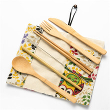 7/8/10pcs Bamboo Utensils Wooden Travel Cutlery Set Reusable Tableware with Camping Bag Fork Spoon Knife Flatware Zero Waste