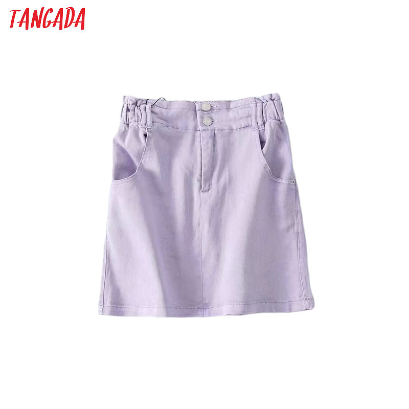 Tangada Women Lavender Denim Skirts Pocket Big Strethy Waist 2020 New Summer Female Elgant Mini Skirt 5B13