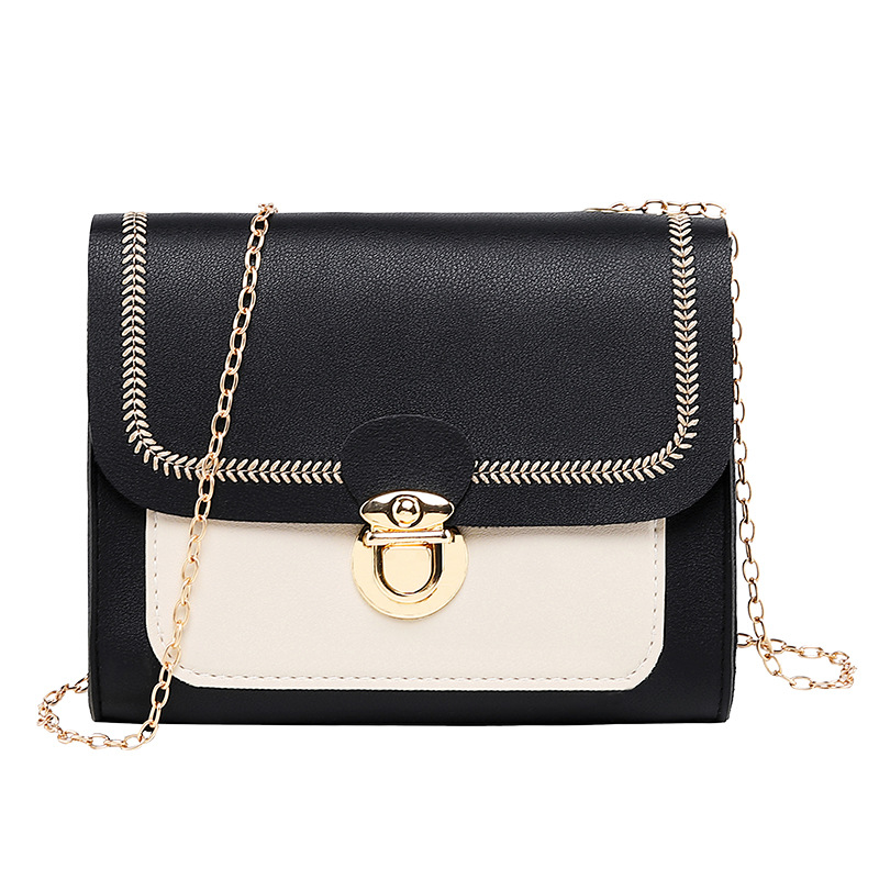 2020 Korean Fashion Embroidery Square Sling Bag Shoulder Bag Handbags Non-Mainstream Chain Messenger Square Sling Crossbody Bag