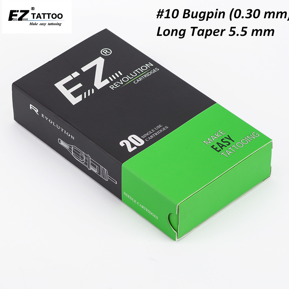 EZ Revolution Needle Cartridge Long Taper #10 Bugpin Magnum Tattoo Needle For Cartridge Tattoo Machine 20PCS/Box
