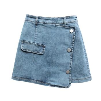 Women Casual Mini Denim Skirt New 2020 Summer Women Sexy Split Pocket Jeans Skirt Mid Waist Bodycon A-Line Skirt фото