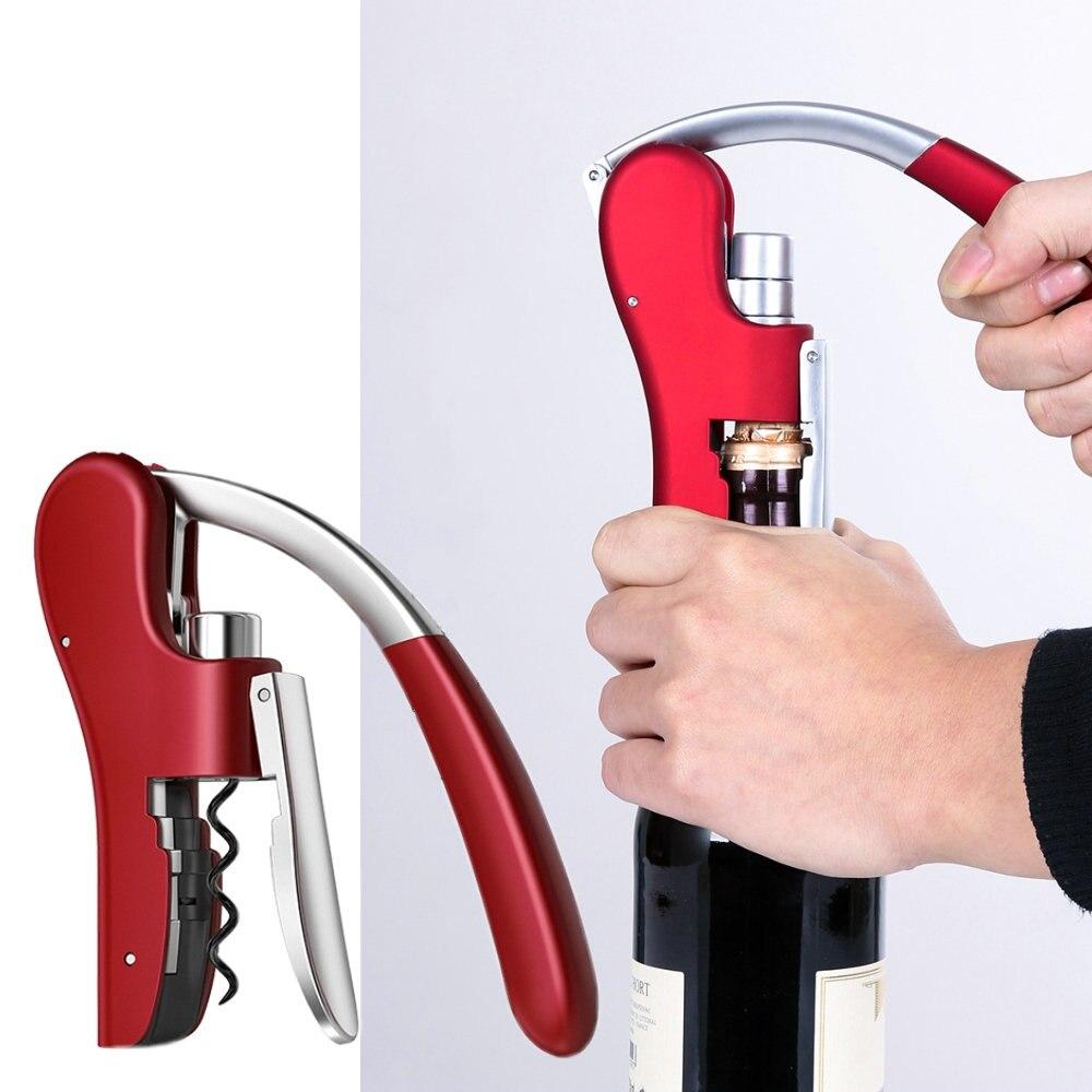 Zinc Alloy Power Wine Opener Bottle Corkscrew Opener Red Built-in Foil Cutter Premium Rabbit Lever Corkscrew For Wine