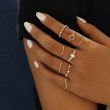 Yobest Bohemian Vintage oro media luna geométrica conjunto de anillos para mujeres cristal personalidad diseño anillo conjunto fiesta joyería regalo