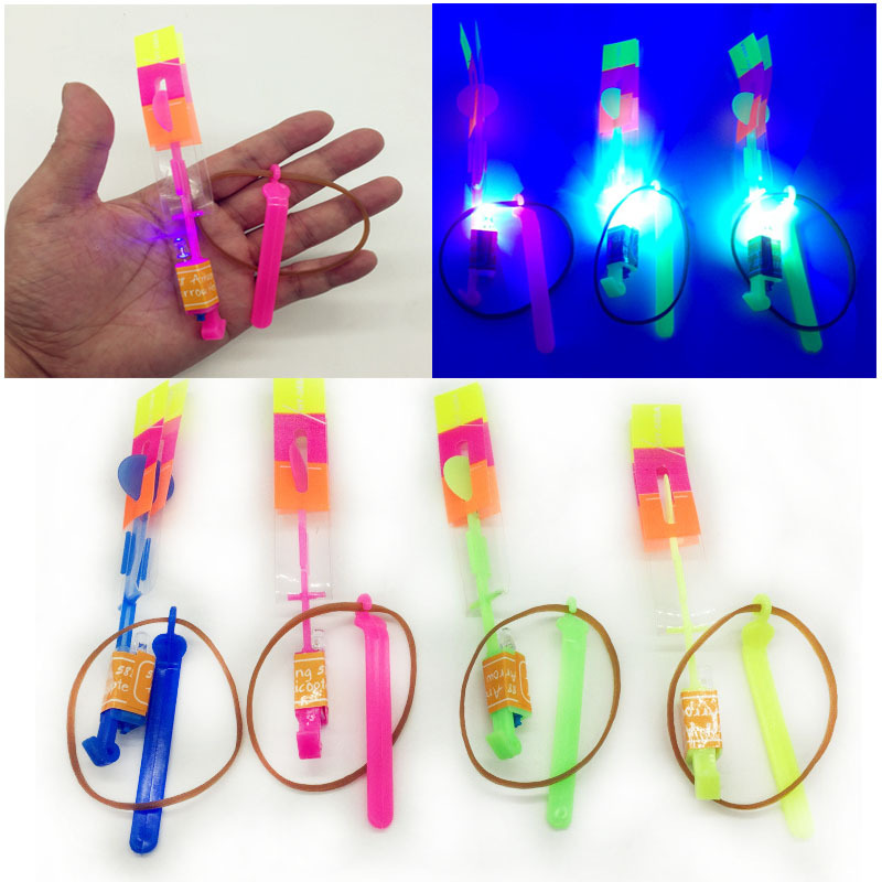 Selling Children's Plastic Slingshot  Blue LED Light Rocket Child Outdoor Toys Catapult Flying Fairy Mushroom Holiday Happy Time