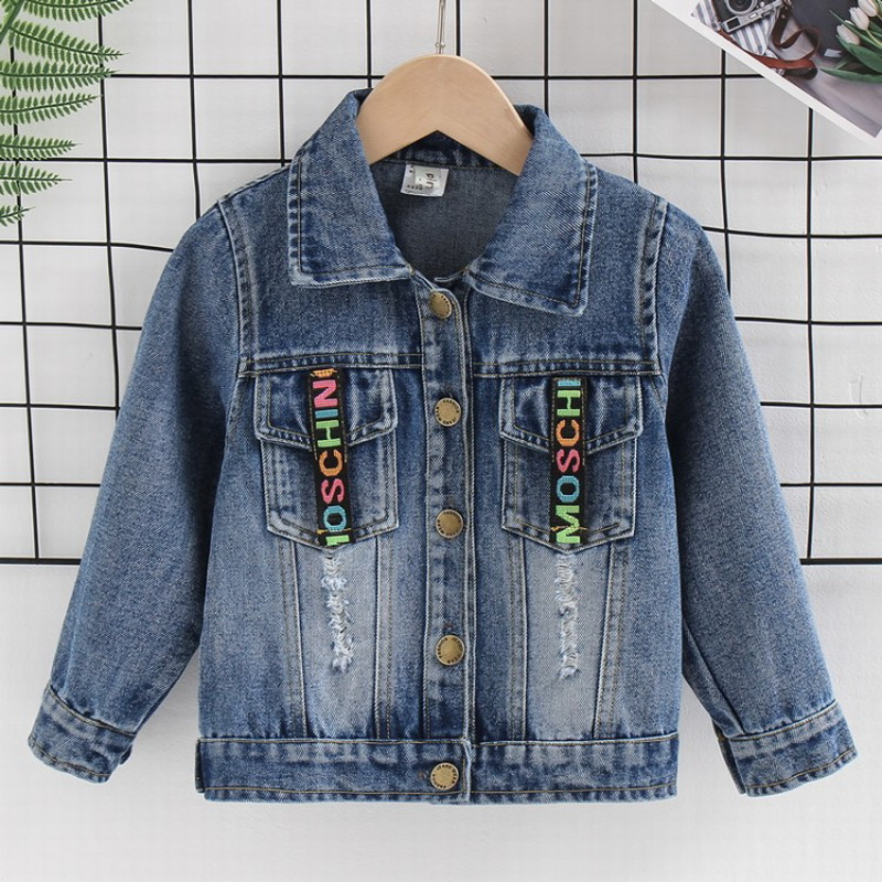 Children's Ribbon Denim Jacket Autumn Jackets&Coats For Baby Boy Jeans Jacket Letters Toddler Sweatshirts Top Clothes 1 To 8 Age