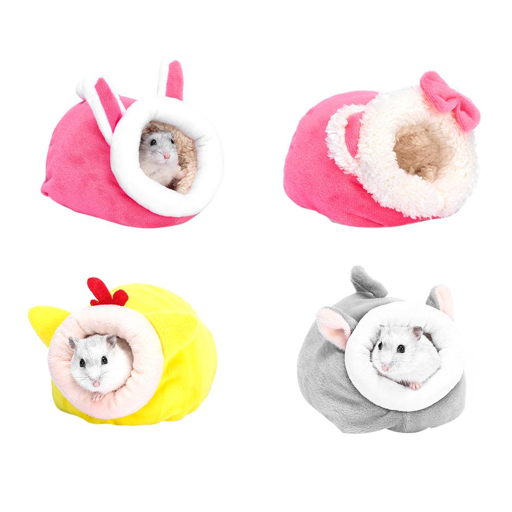 Mini Small Pet Nest Cute Cartoon Animal Shape Comfortable Hedgehog Hamster Winter Small Warm Plush Cotton Sleeping Bed 20E