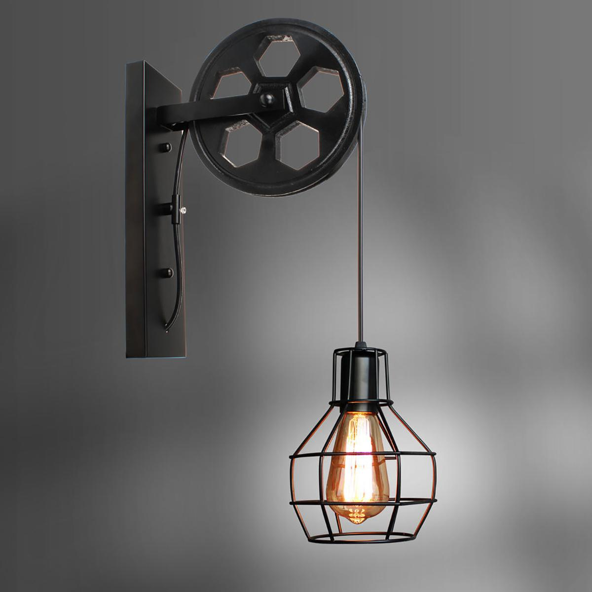 US $30.30 30% OFF30 Colors Retro Iron Wall Lamp Lifting Pulley E30  Adjustable Sconce Light for Home Corridor Living Room Restaurant Loft  CafeLED