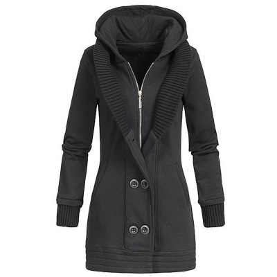 Liva girl  Women Fashion Autumn Winter Thicken Cotton Coat Ladies Solid Hooded Warm Jacket Outerwear Female Padded Parka Overcoa