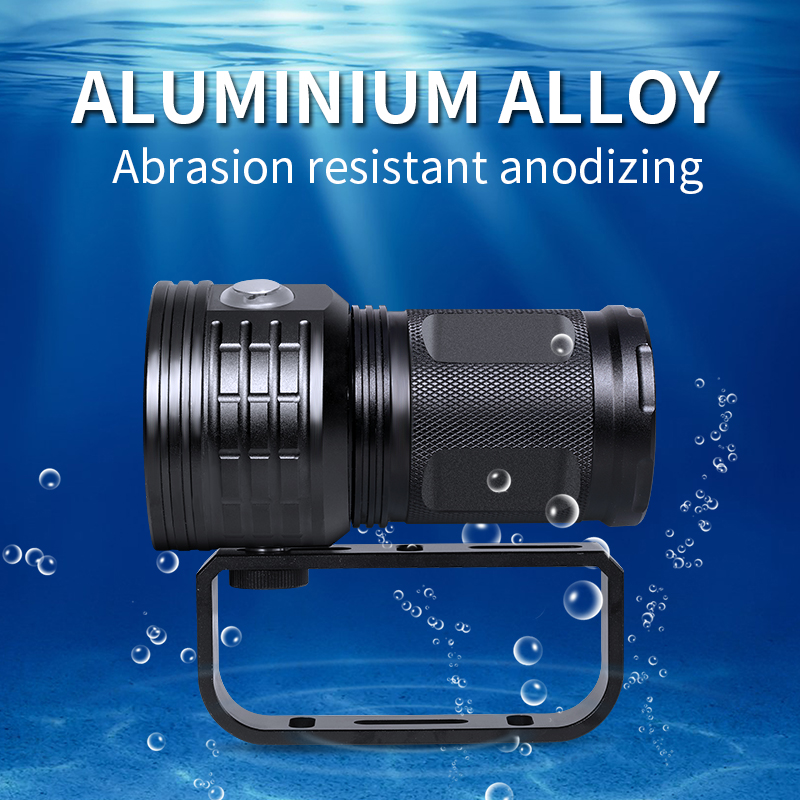 IPX8 Underwater 100m waterproof LED diving tactical flashlight 20000Lumens photography Video fill light with  4*18650 battery