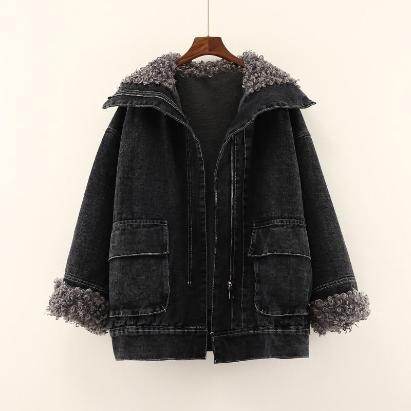 Winter New Lamb Fur Denim Coat For Womens Thicken Warm Fleece Solid Pocket Patchwork Denim Outwear Coats Tops