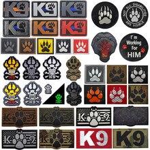 3d bordado remendo k9 serviço cão tático remendos do exército emblema reflexivo militar ir infravermelho prendedor pvc bordados emblemas