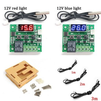 Red LED Digital Thermostat Temperature Control Thermometer Thermo Controller Switch Module DC 12V 125V Waterproof with Box w1209wk w1209 wk dc 12v led digital thermostat temperature control thermometer thermo controller switch module ntc sensor
