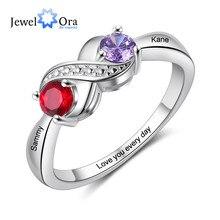 Anel gravado infinito personalizado da jóia com 2 birthstones nome personalizado prata cor anéis de cobre para presentes da promessa das mulheres