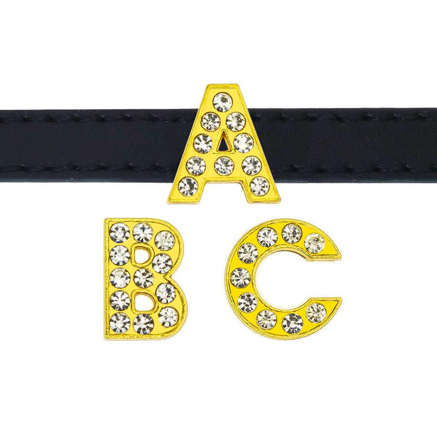 1pc 8mm 골든 컬러 라인 석 슬라이드 편지 슬라이드 매력 A-Z DIY 팔찌 팔찌 애완 동물 목걸이 여성 쥬얼리 선물 용품