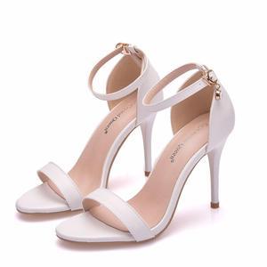 Image 5 - Sandálias de cristal queen, salto alto para mulheres, sapato de salto alto, tira, tornozelo, sexy, vestido de festa, branco, para escritório