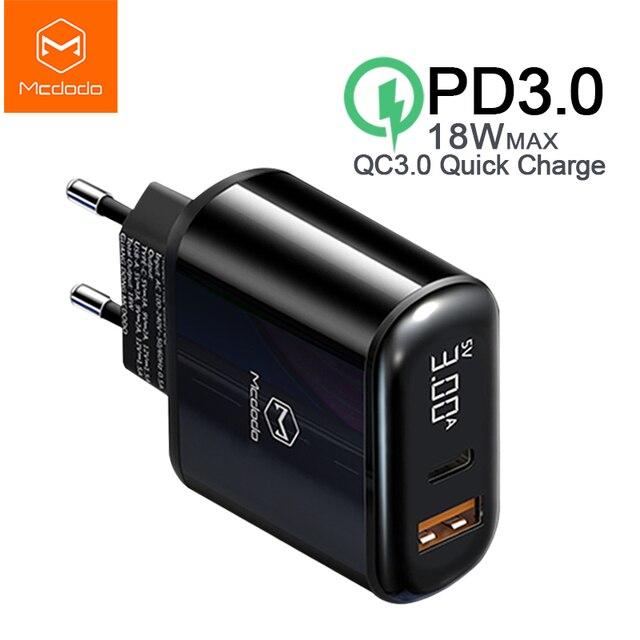 Mcdodo cargador USB de carga rápida para móvil, cargador de teléfono de 18W de carga rápida 4,0 PD para iPhone 11 Max Pro X XR XS Xiaomi Samsung S10 9 Huawei