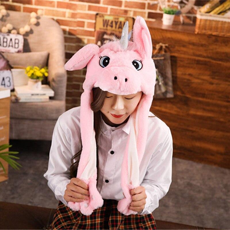 Различные стили милый кролик шляпа с светильник Забавный воздушный поплавок наполнение уха подвижная крышка мультфильм плюшевые игрушки подарки для ребенка - Цвет: Бургундия