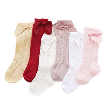 Socken Bogen Sommer Frühling Mesh Neugeborenen Baby Mädchen Kinder für Weihnachten Winter Nicht-slip Terry Baumwolle Sokken Prinzessin Knie hohe Lang