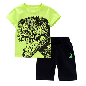 Boys Clothes Summer Baby shark Dinosaur T Shirt Camouflage Short Outfit Sport Suit Children kids clothes Set 2 3 4 5 6 8 Years(China)