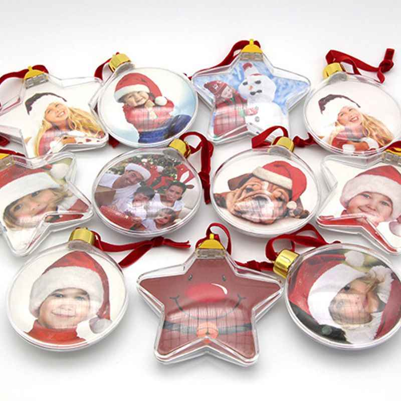 DIY Transparent Photo Five-star Ball Christmas Decoration Valentine's Day Gift Supplies for X-mas Tree Hanging Decorations Party