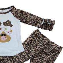 2020 New Girls Outfits Deer Long Sleeves Tops Leopard Bell Bottom Pants Christmas Spring Autumn Boutique Kids Clothing-Sets(China)