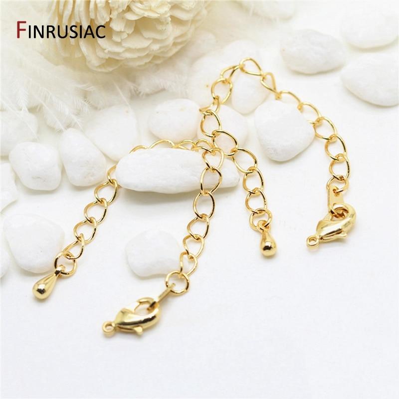 DIY браслет, ожерелье, удлинительная цепь, 80 мм, Длина 14K, позолоченные латунные застежки для омаров, удлинительные цепи для изготовления ювел...