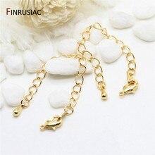 Diy pulseira colar extensão corrente 80mm comprimento 14k banhado a ouro latão lagosta fechos cauda extensor correntes para fazer jóias