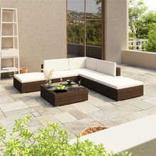 Ensemble de salon de jardin 6 pièces avec coussins Poly rotin brun ensembles de meubles d'extérieur