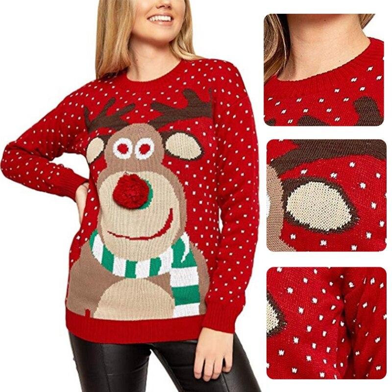 Женский зимний Уродливый Рождественский свитер с длинными рукавами