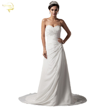 Jeanne Love New Arrival Wedding Dresses 2017 Chiffon Beach Applique Lace Pleat Robe De Mariage Vestido Novia JLOV75929