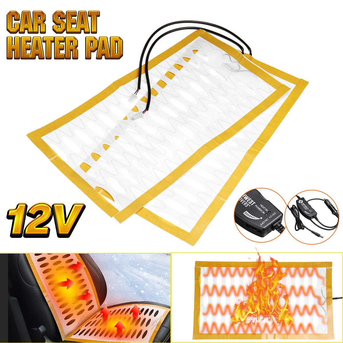 27x48cm 2 Seats 4 Pads Universal Carbon Fiber Heated Heeting Seat Heater 12V 25w Cushion Pads Switch Winter Warmer Seat Covers