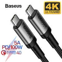 Baseus Кабель USB 3,1 type C к usb type C для samsung S9 S10 Xiaomi Quick Charge 4,0 PD 100W быстрое зарядное устройство HDMI кабель для MacBook