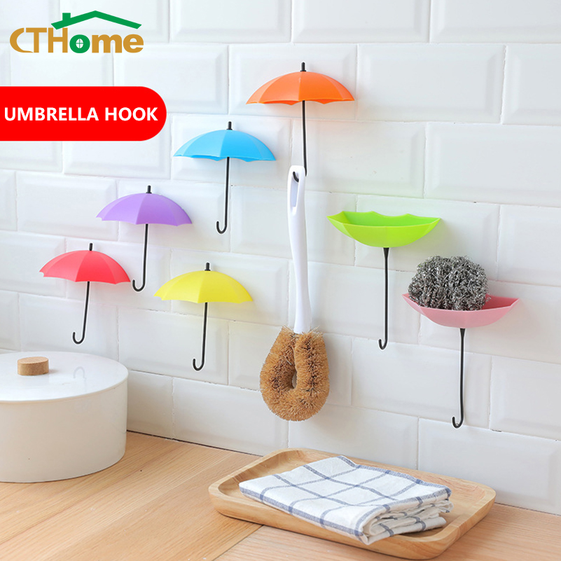 6pcs/set New Umbrella Wall Sticky Hook Cute Umbrella Wall Mount Key Holder Wall Hook Hanger Organizer Durable Key Holder Bedroom
